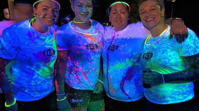 ABOVE: Megan Latchford, Zoe Mackay, Sharyn Thompson and Lauren Pingel attended the   Junior Crushers Glow Run, which was held in Blackwater on Tuesday night.