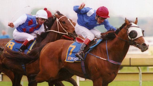 The Sheikh Hamdan bin Rashid Al Maktoum-owned Fraar, ridden by Peter Hutchinson, wins the 1993  Caulfield Cup. Picture: News Corp