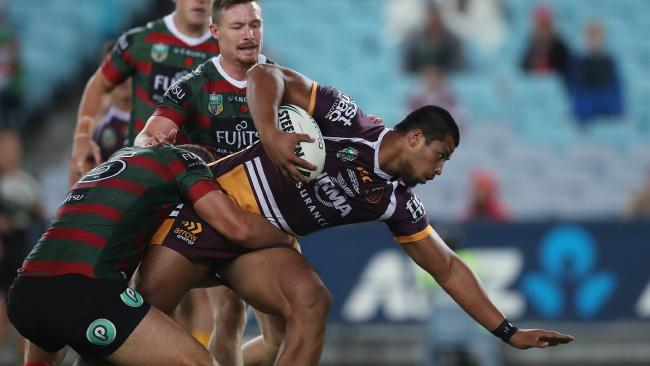 Brisbane's Payne Haas made his long awaited NRL debut.. Picture. Phil Hillyard