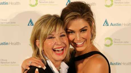 Olivia Newton John with Delta Goodrem, who will play her in the  Channel 7 biopic. Picture: Yuri Kouzmin