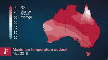May is going to warm but June and July could be a very average winter. Picture: Bureau of Meteorology