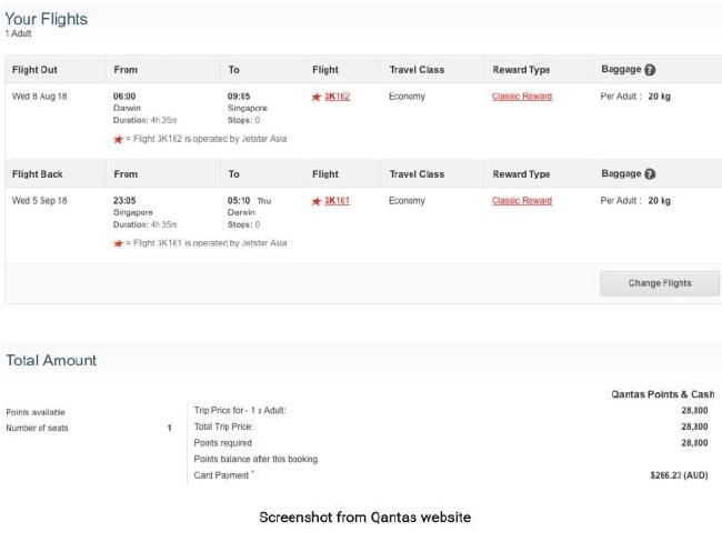 An example from the Qantas website.