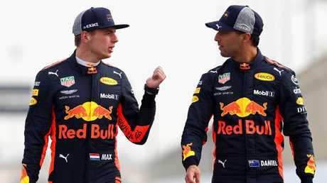 (R-L) Red Bull drivers Max Verstappen and Daniel Ricciardo.