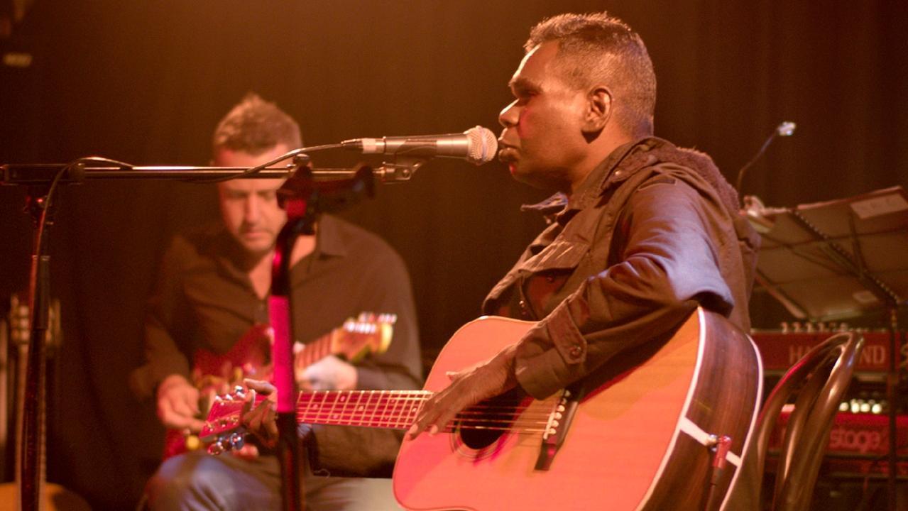Indigenous musician Geoffrey Gurrumul Yunupingu in a scene from documentary film Gurrumul