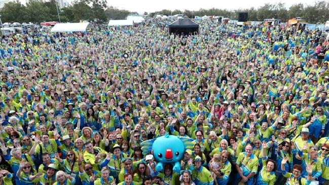 Thousands of volunteers pose with Borobi during the 'Thank The Volunteers' night held to celebrate the work of the Games Shapers during the 2018 Gold Coast Commonwealth Games on April 21, 2018 in Gold Coast, Australia.
