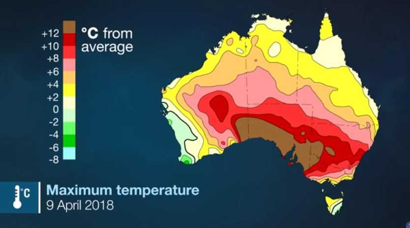 April 9 was the hottest April day in Australia's history. Picture: Bureau of Meteorology