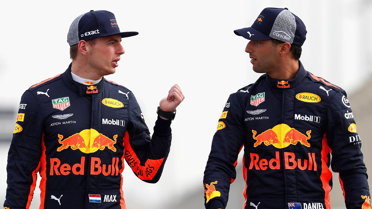 BAHRAIN, BAHRAIN — APRIL 05: Daniel Ricciardo of Australia and Red Bull Racing and Max Verstappen of Netherlands and Red Bull Racing pose for a photo during previews ahead of the Bahrain Formula One Grand Prix at Bahrain International Circuit on April 5, 2018 in Bahrain, Bahrain. (Photo by Mark Thompson/Getty Images)