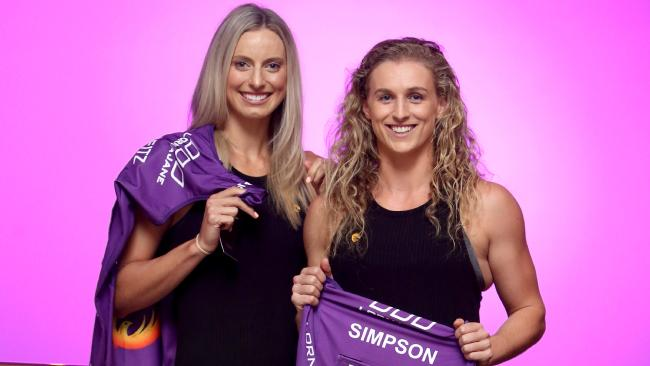 Firebirds stars Laura Geitz and Gabi Simpson at the club season launch.