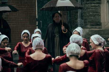 Elisabeth Moss and Ann Dowd in a scene from season two of The Handmaid's Tale.