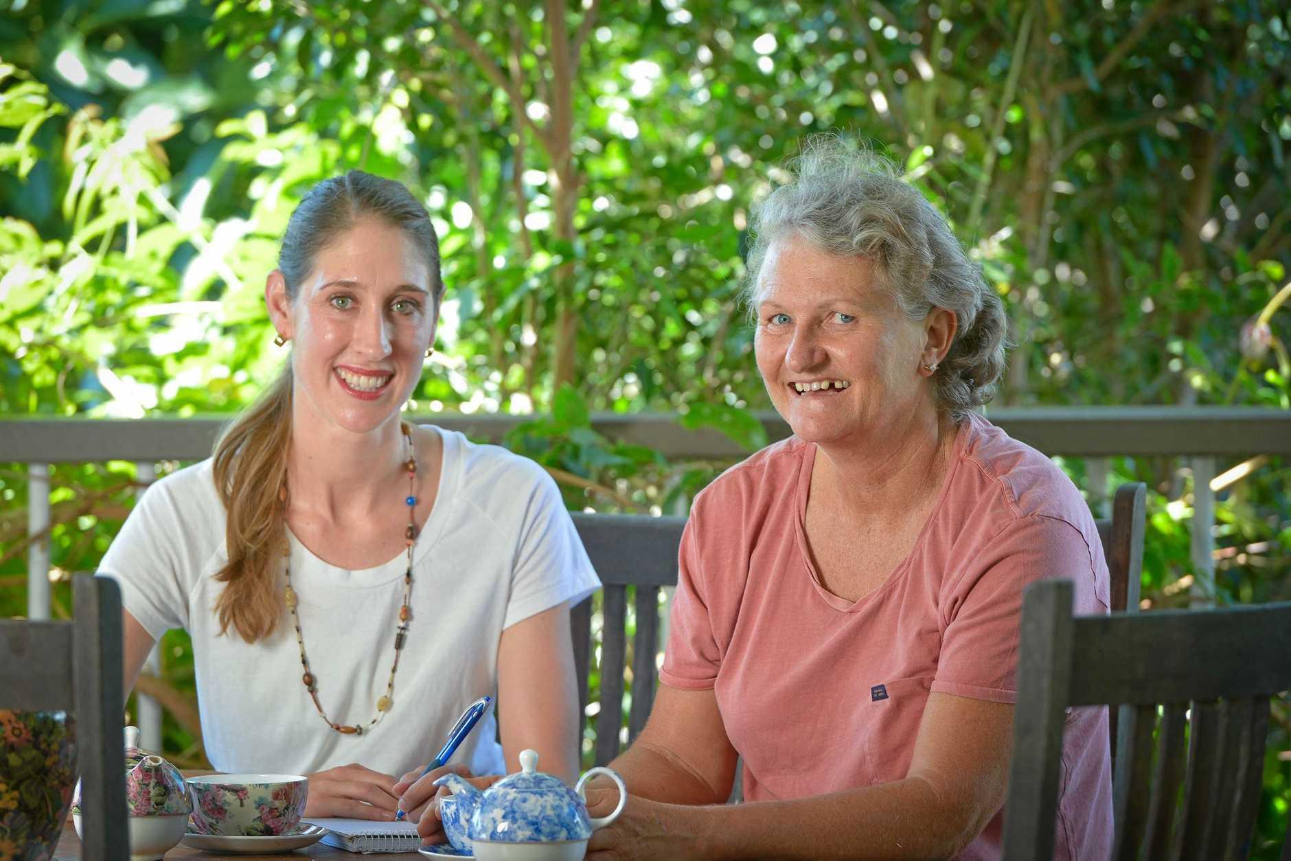 MAKING MEMORIES: Author Nicola Davison and book winner Lyn Stiller.
