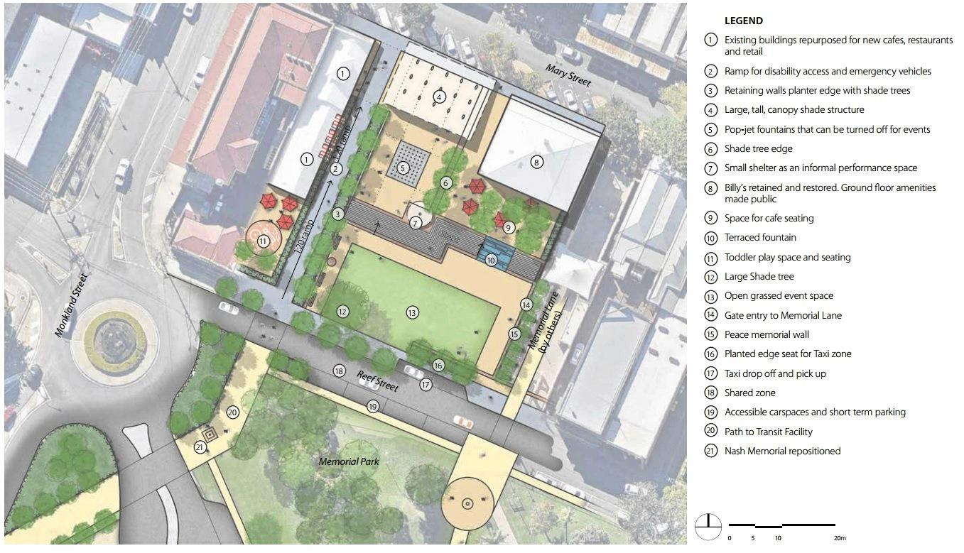 Concept plan for the Mary St pedestrian plaza.