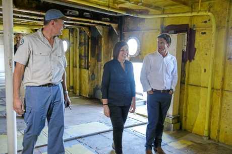 INSIDE: Minister Leeanne Enoch takes a walk through ex-HMAS Tobruk.