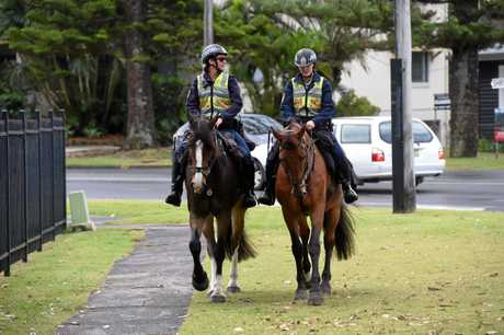 From NSW Police Mounted Unit  Senior Constable Michelle Cherry riding Ismo, and Senior Constable Sarah Maxwell riding Sovereign in Byron Bay as part of Operation Tasman North.