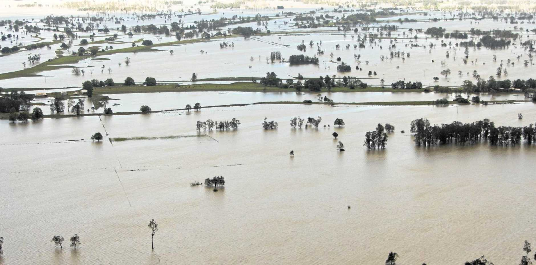 Photo from The Daily Examiner in January 2013, showing the Clarence River in flood.