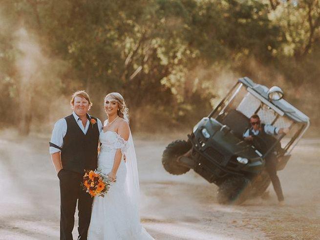 A couple's hilarious wedding photos