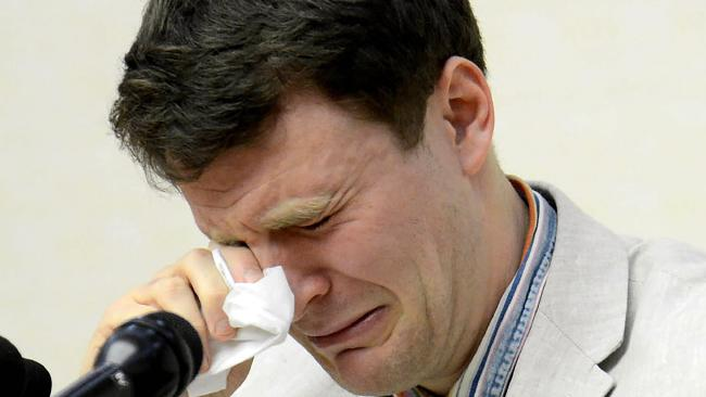 US student Otto Warmbier breaks down during a press conference in Pyongyang in 2016. Picture: AFP/KCNA via KNS