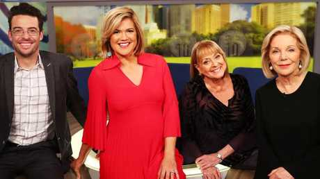 Joe Hildebrand, Sarah Harris, Denise Drysdale and Ita Buttrose on the set of Studio 10. Picture: John Feder/The Australian