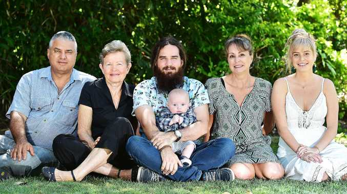 Michael and Deborah Arena, Gareth Arena with his son Rixon, 3 mths, and Lynne and Kelsie Graham. Picture: Shae Beplate.