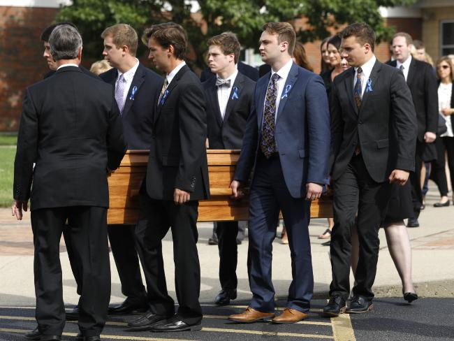 Otto Warmbier is carried out from his funeral at Wyoming High School in 2017. Picture: AFP/Getty Images/Bill Pugliano