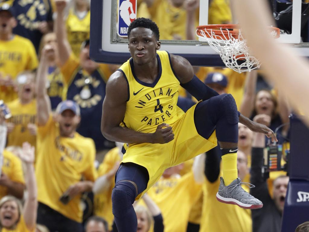 Indiana Pacers' Victor Oladipo was on fire in the first half. (AP Photo/Darron Cummings)