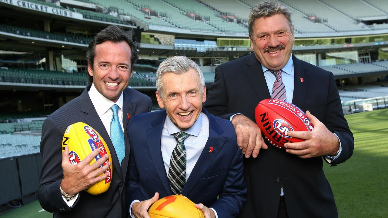 Channel 7 AFL commentators Hamish McLachlan, Bruce McAveney and Brian Taylor. Picture: Wayne Ludbey