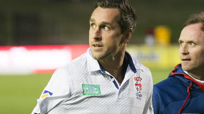 Mitchell Pearce isn't letting his injury stop him from helping the Knights. Picture: Dylan Robinson