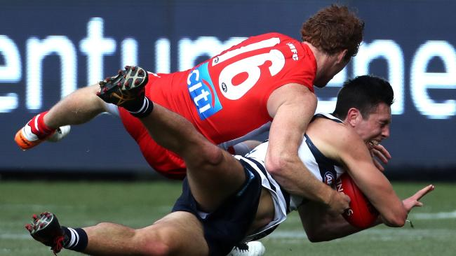 Gary Rohan and the Swans' tackling was a feature early. Pic: AAP
