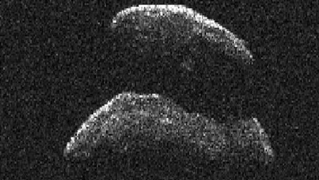 A radar image of an asteroid hurtling through space in 2015. Picture: NASA