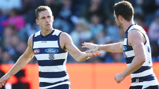 Joel Selwood was terrific and Patrick Dangerfield had his moments, but the Swans roared home. Pic: Getty Images