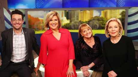 Joe Hildebrand, Sarah Harris, Denise Drysdale and Ita Buttrose on the set of Network Ten's morning program, Studio Ten prior to Buttroses departure. Picture: John Feder/The Australian