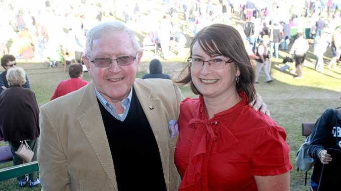 FIGHT'S ON: Granite Belt Community Association's Rev Alan Colyer and Amanda Harrold at the C.F White Oval rally today.