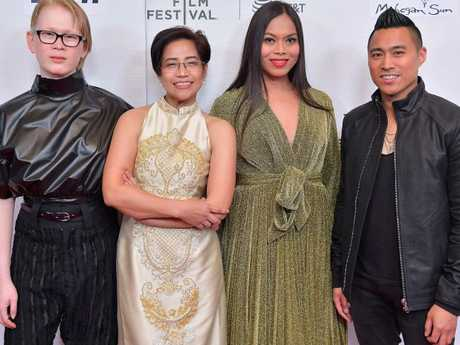 Activist Meredith Talusan, lawyer Virgie Suarez, Ms Fontanos and Raval want the world to take note of Ms Laude's tragic story. Picture: Roy Rochlin/Getty Images for Tribeca Film Festival