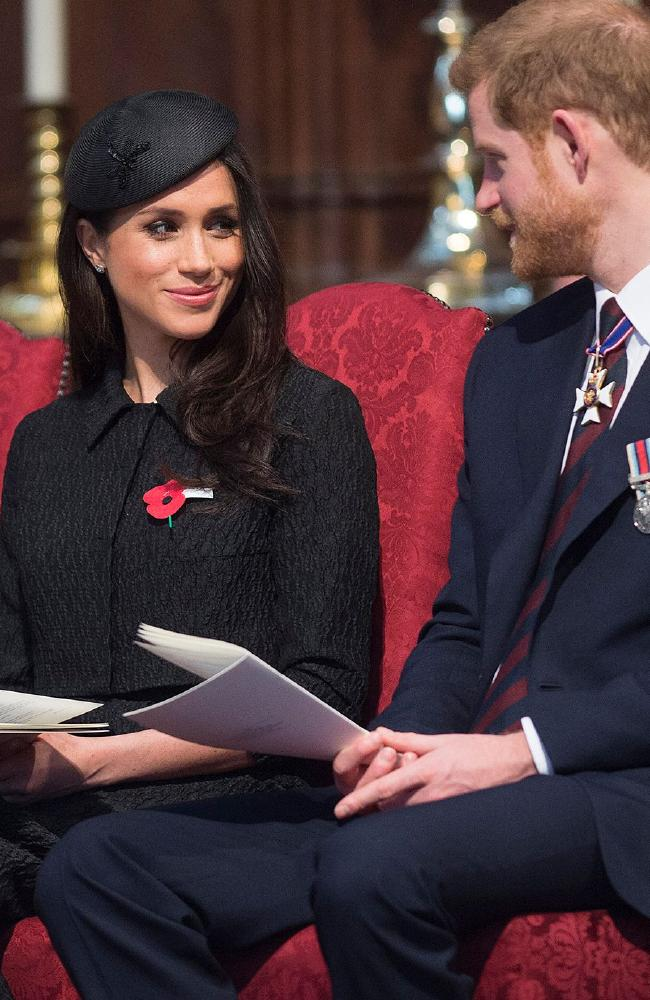 Britain's Prince Harry, his US fiancee Meghan Markle attend a service of commemoration and thanksgiving to mark Anzac Day in Westminster Abbey. Picture: AFP
