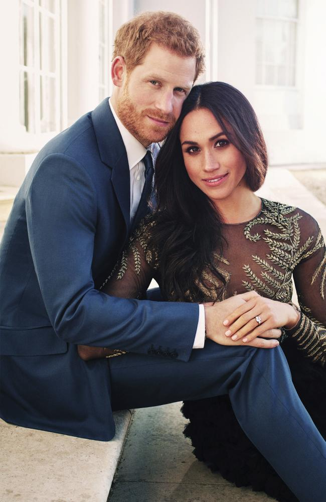 Prince Harry and Meghan Markle pose for one of two official engagement photos, at Frogmore House, in Windsor, England. Picture: Alexi Lubomirski via AP