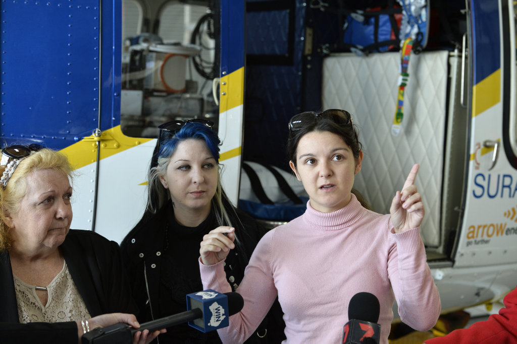 Telling their story are (from left) Marrion, Amanda and Elizabeth Bailey-Brown during a vist to the RACQ LifeFlight Rescue Toowoomba hanger to say thank you after Marion and Amanda were airlifted following a serious traffic crash near Munbilla last year, Monday, April 30, 2018.