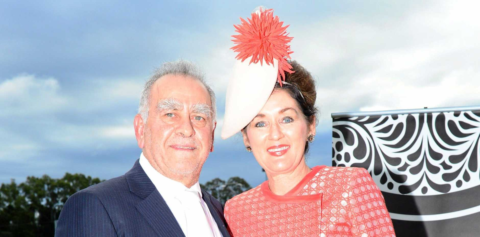 OVERWHELMED AND HONOURED: Fashions in the field judge Sydney designer 'George' with Madonna Boodle.