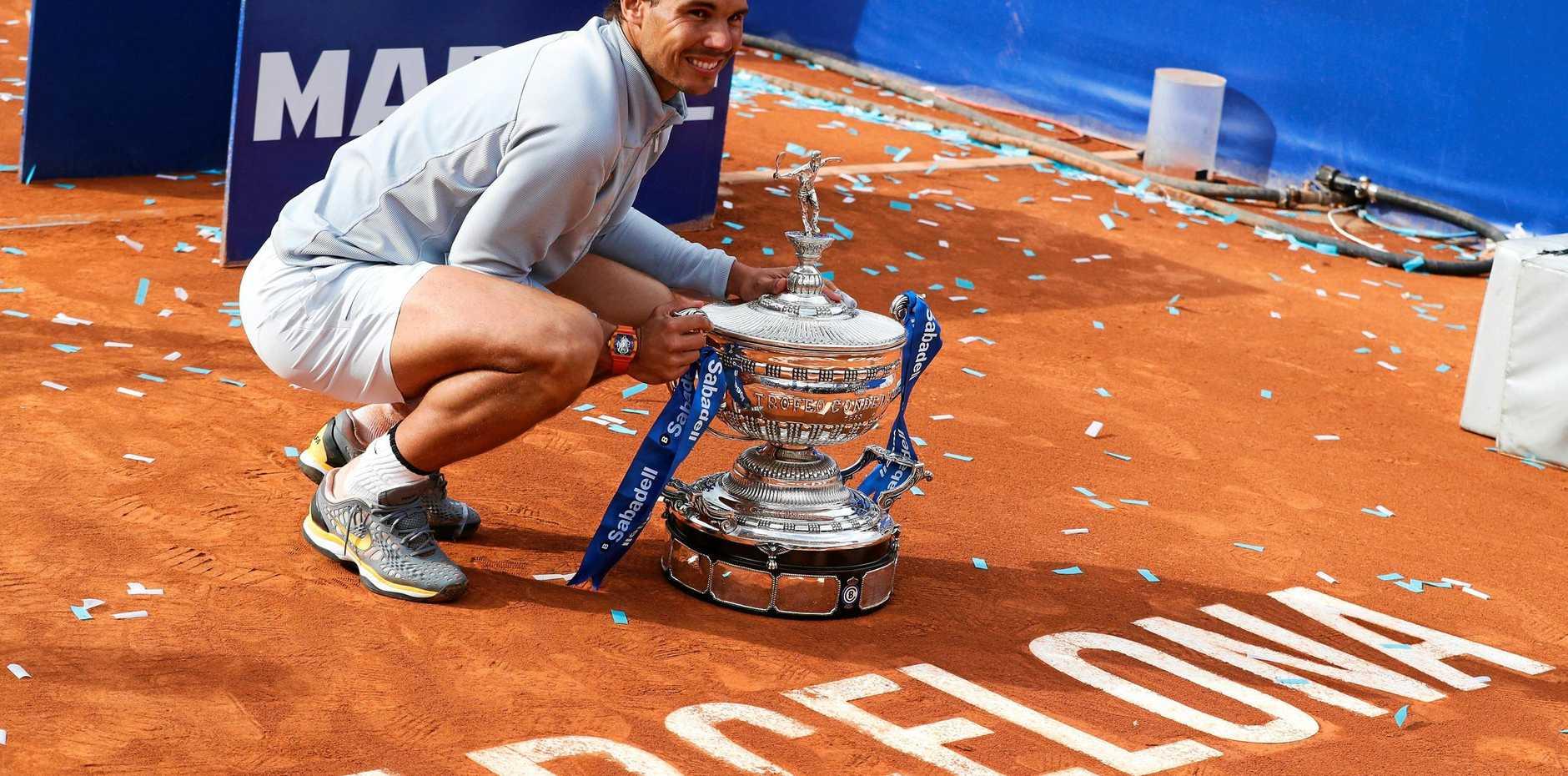 Rafael Nadal celebrates after winning the Barcelona Open