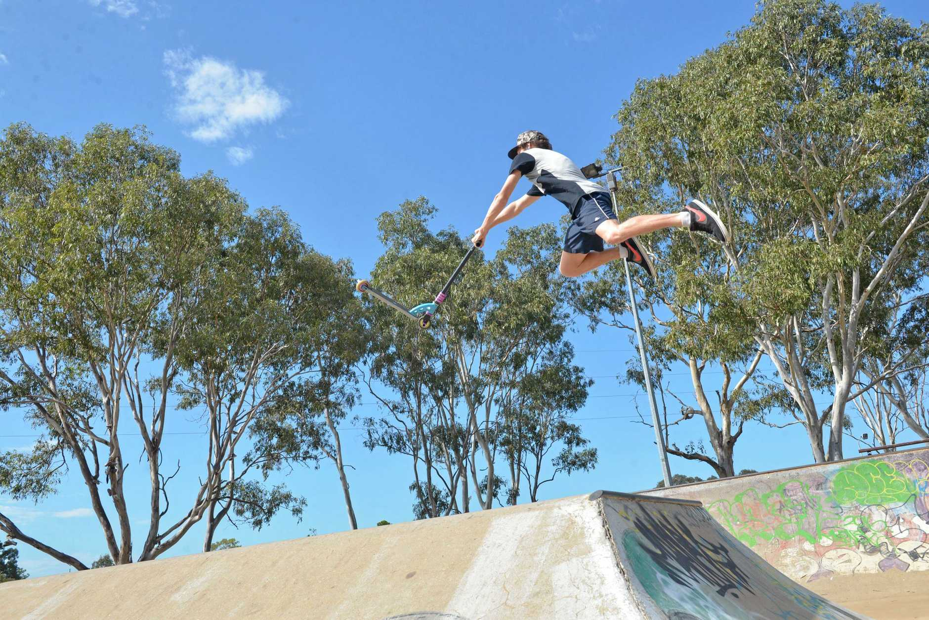 AIR TIME: Ramiah Bowden pulls off some stunts at the skate and bike park in Bundaberg in a file image. Unknown boys from the skate park helped when an elderly man was injured.