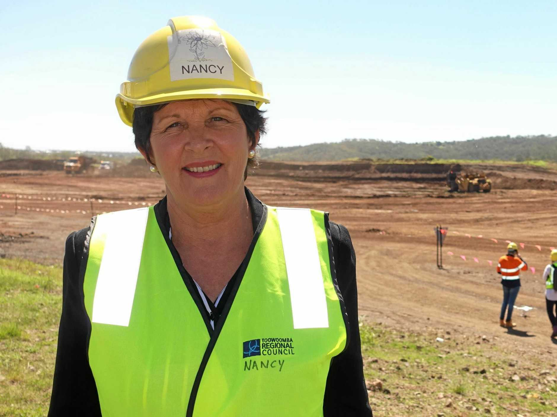 TRC Water and Waste Committee chair Cr Nancy Sommerfield in front of the area where the Vertical Expansion Project is progressing.