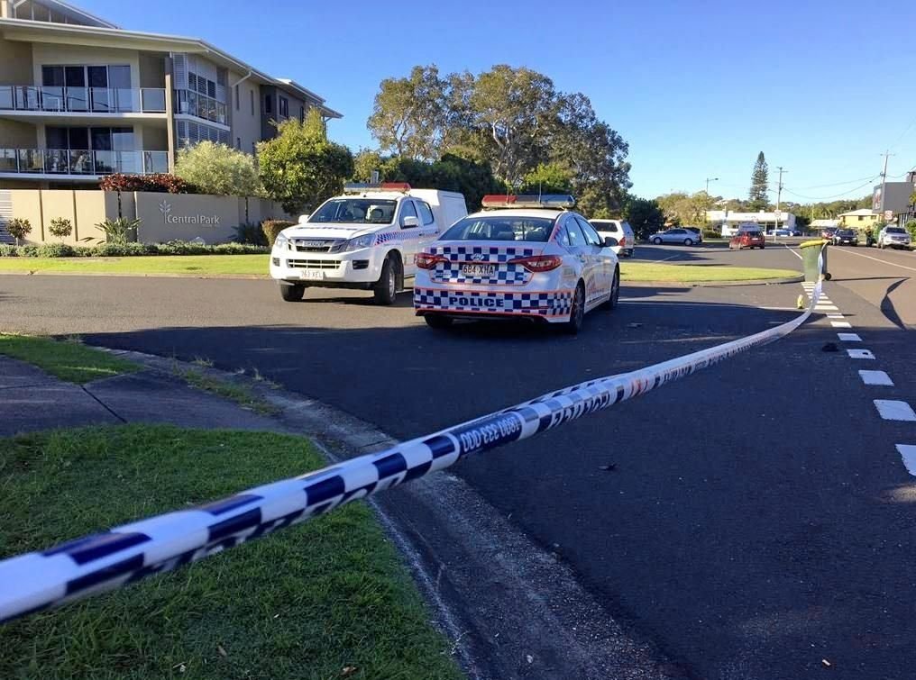 Police investigate the scene on Kingsford Smith Pde, Maroochydore, where a moped rider has been accused of a vicious attack on a police officer.