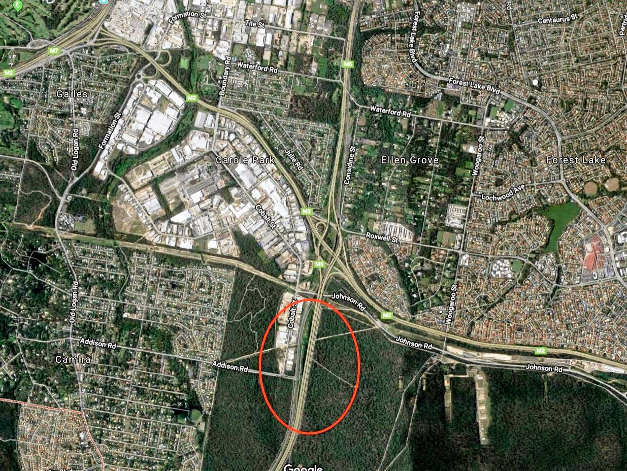 A map showing where traffic backs up on the Centenary Hwy during the morning commute to Brisbane City.