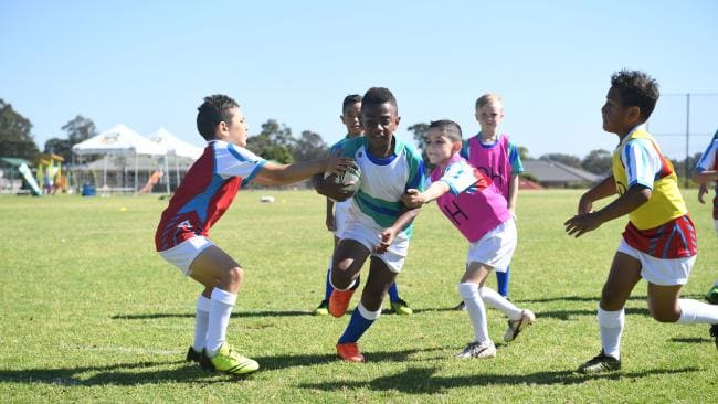 New South Wales junior rugby league players from the Botany Rams, Picton Magpies, Campbelltown Warriors and Arncliffe Scots Junior Rugby League Clubs participate in the Kids In Sport Initiative. Picture: NRL/ Supplied
