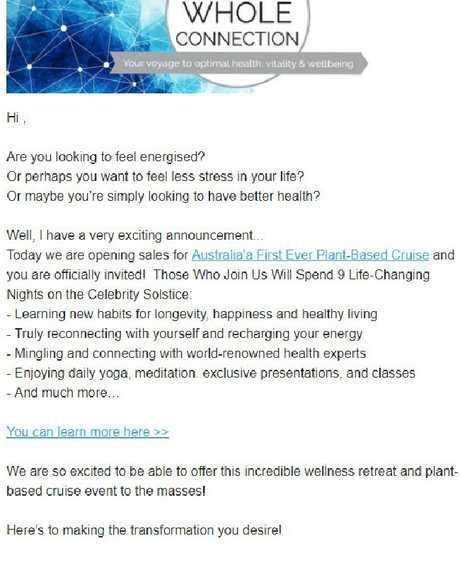 Invitation to Australia's first vegan cruise