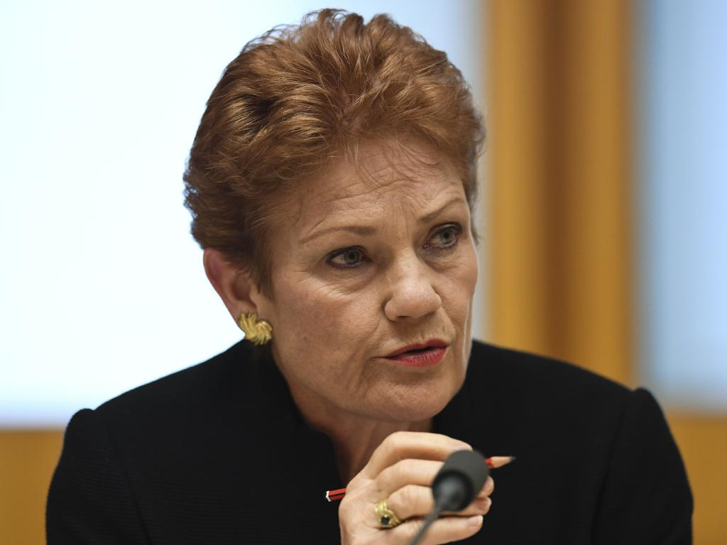One Nation Senator Pauline Hanson says there's a double standard on tree clearing when it comes to solar farms in Queensland. Picture: AAP/Lukas Coch