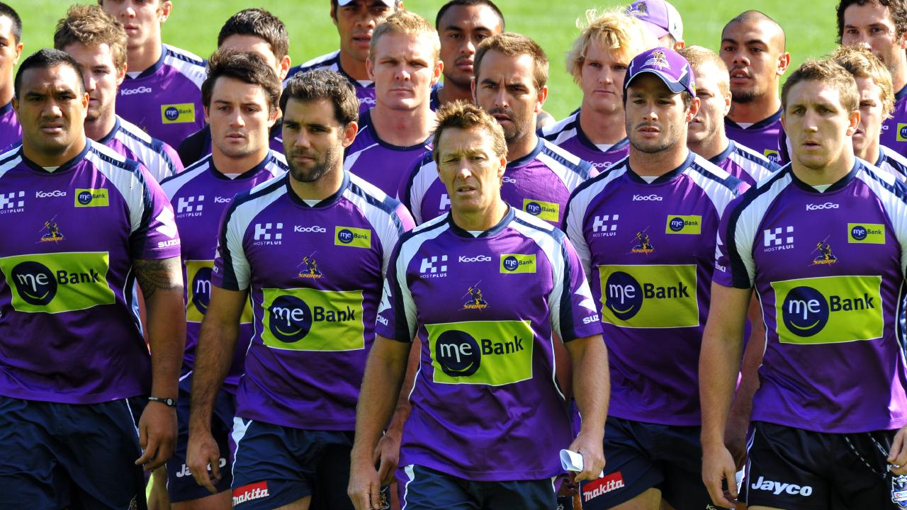 Storm players presented a united front behind coach Craig Bellamy in the wake of the 2010 salary cap scandal.