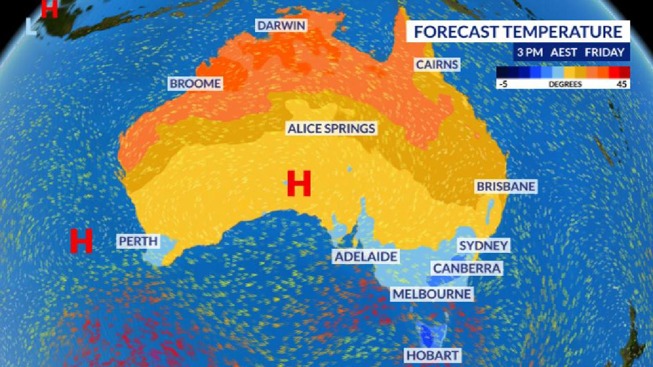 A series of cold front will sweep across southern Australia, from Perth to Hobart, bringing down temperatures. Picture: Sky News Weather