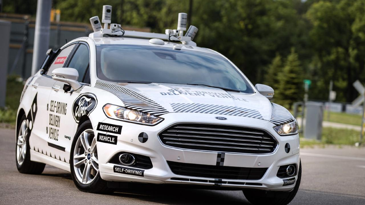 Truly autonomous cars of the future will have beacons with radar and other sensors like this Ford test vehicle. Picture: Supplied.