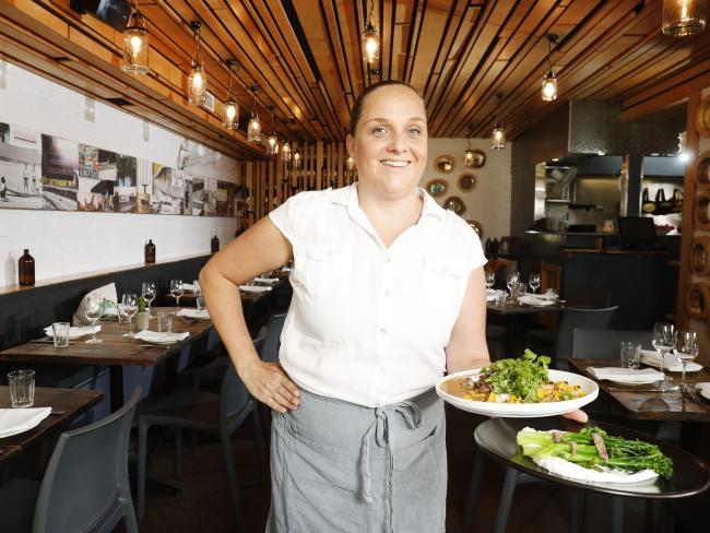 Kim Galea at her Peregian Beach restaurant Pitchfork. Picture: Lachie Millard