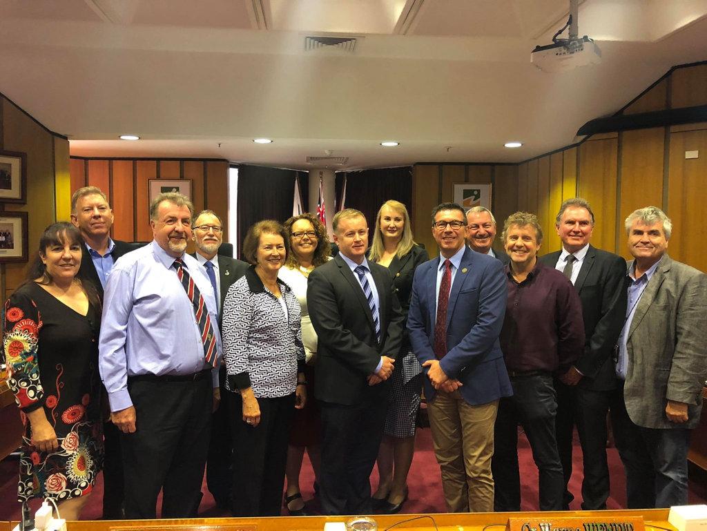 Ipswich councillors with new chief executive officer Sean Madigan and acting CEO Gary Kellar.