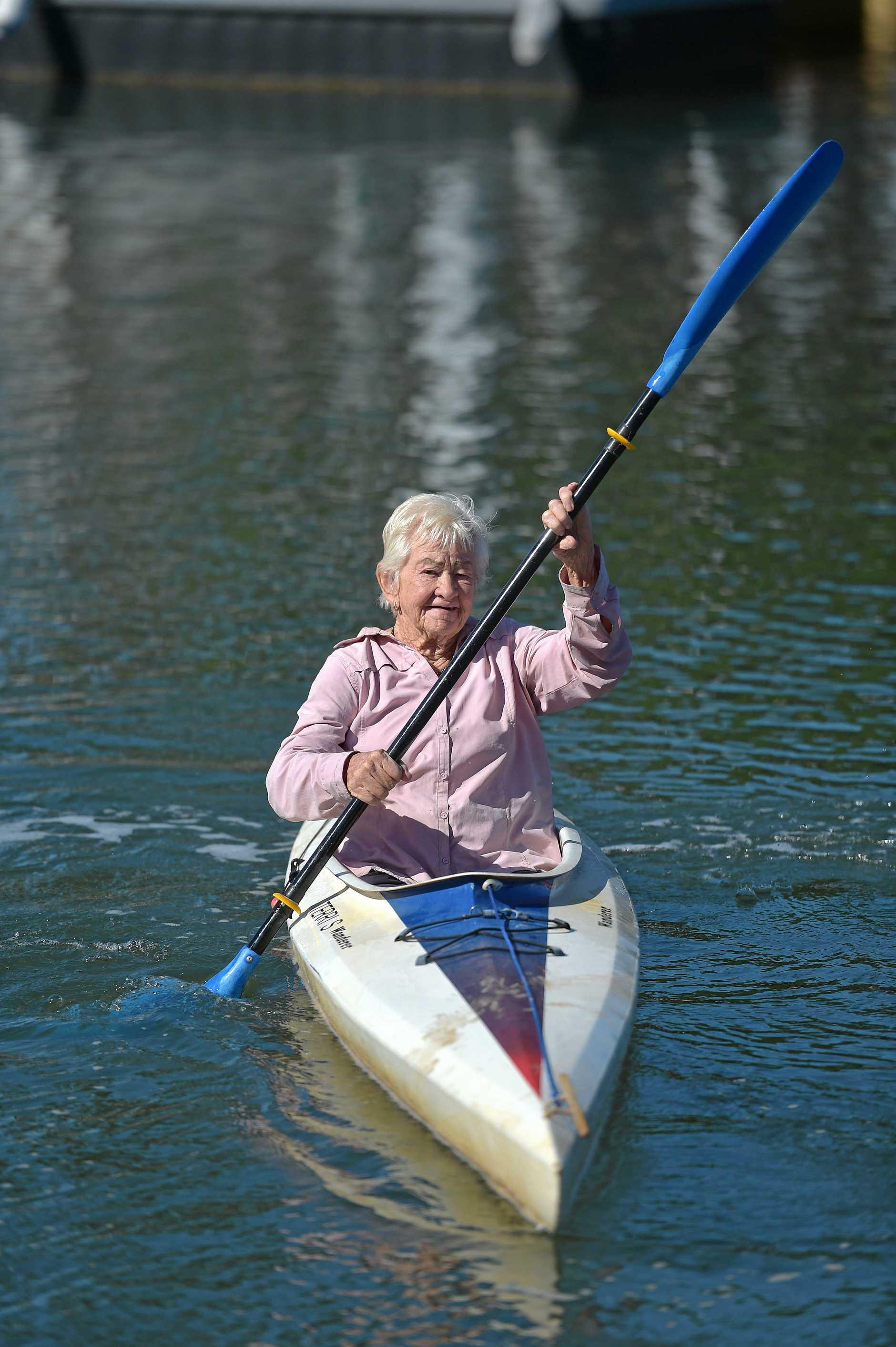 Former Japanese prisoner of war Terri still loves to kayak.